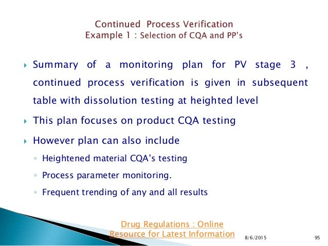  Summary of a monitoring plan for PV stage 3 , continued process verification is given in subsequent table with dissoluti...