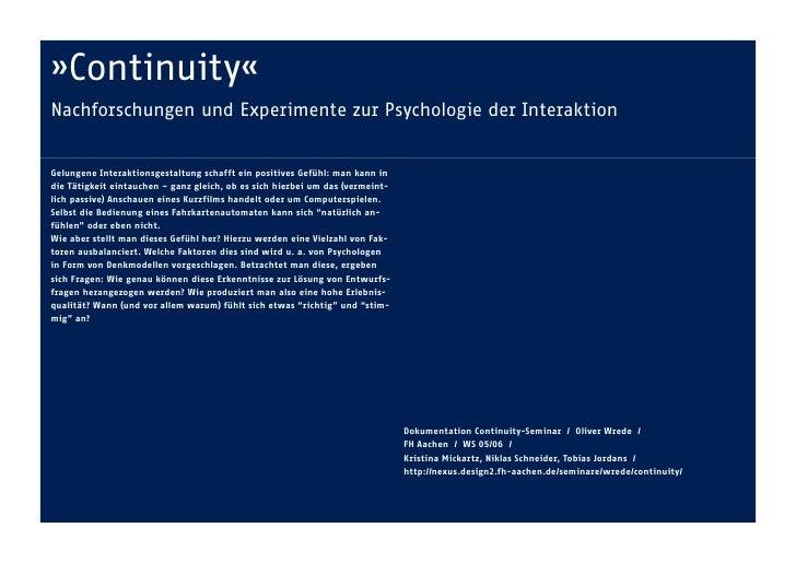 »Continuity«    Nachforschungen und Experimente zur Psychologie der Interaktion      Gelungene Interaktionsgestaltung scha...