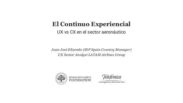 El Continuo Experiencial UX vs CX en el sector aeronáutico Juan José Elizondo (IDF Spain Country Manager) UX Senior Analys...