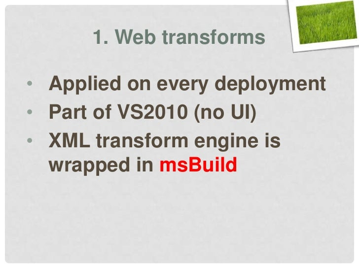 Continuous Delivery with TFS msbuild msdeploy Slide 45