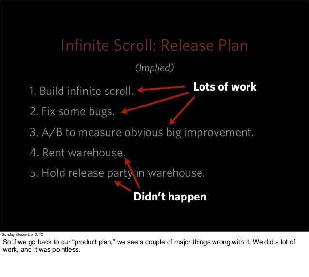 Infinite Scroll: Release Plan                                             (Implied)              1. Build infinite scroll.  ...