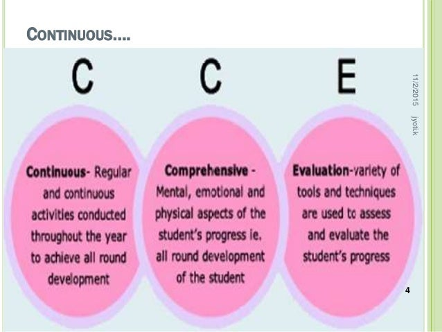 continuous and comprehensive evaluation in schools essay Cce: a critical analysis was the introduction of continuous and comprehensive evaluation do you use the hindu in school for cce activities.