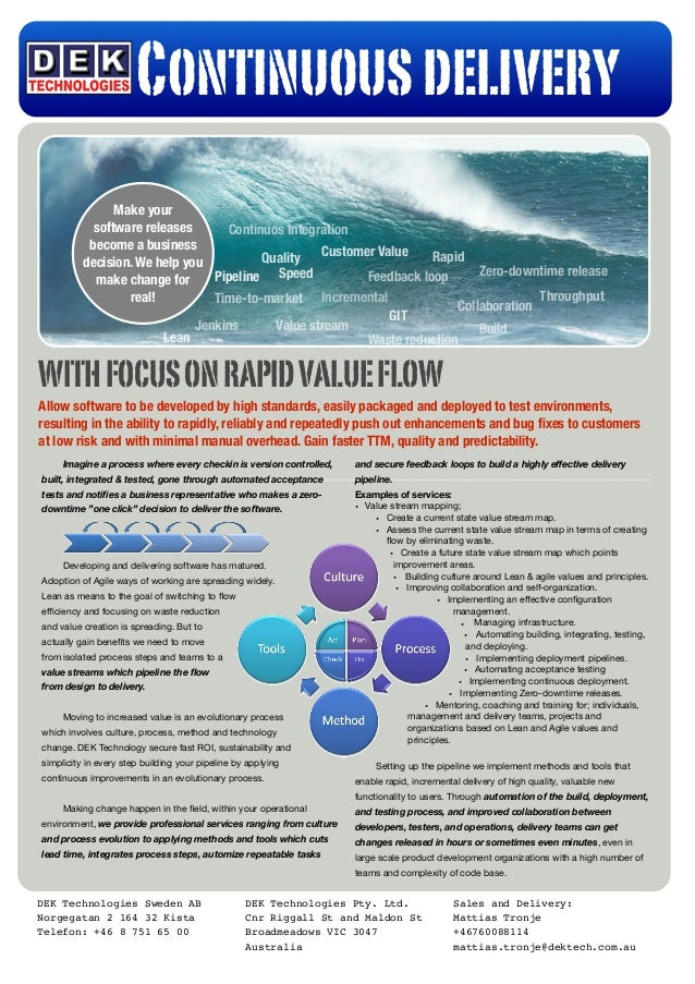 WITHFOCUSONRAPIDVALUEFLOW Allow software to be developed by high standards, easily packaged and deployed to test environme...