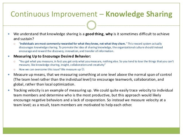 facilitate continuous improvement essay Continuous improvement of teaching practices within the  of incentive structures  in facilitating compliance  multiple choice or short essay questions that are.