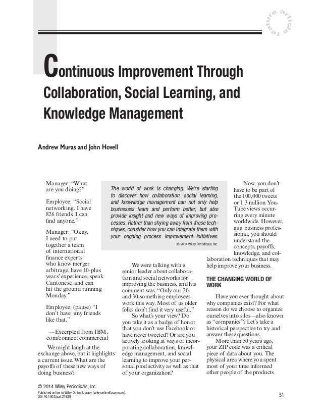 ticl  u at r  e ar  e  fe  Continuous Improvement Through Collaboration, Social Learning, and Knowledge Management Andrew ...