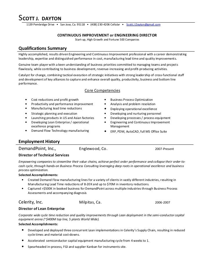 Process Improvement Resume. Continuous Improvement Director 09 01 2009 .