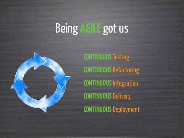 Being AGILE got us  CONTINUOUS Testing  CONTINUOUS Refactoring  CONTINUOUS Integration  CONTINUOUS Delivery  CONTINUOUS De...