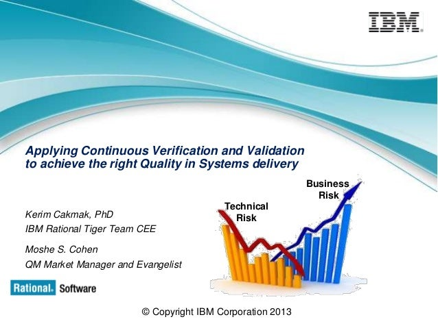 Applying Continuous Verification and Validation to achieve the right Quality in Systems delivery Business Risk Technical R...