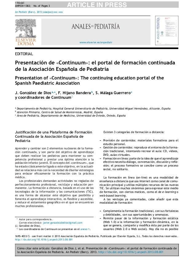 +Model ANPEDI-1382; No. of Pages 3  ARTICLE IN PRESS  An Pediatr (Barc). 2013;xxx(xx):xxx--xxx -  www.elsevier.es/anpediat...