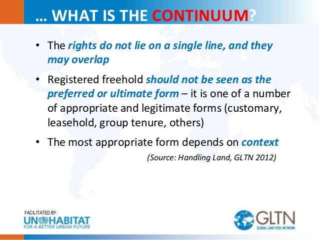 Perception of Tenure Security: The Continuum of Land Rights Perspective Slide 3