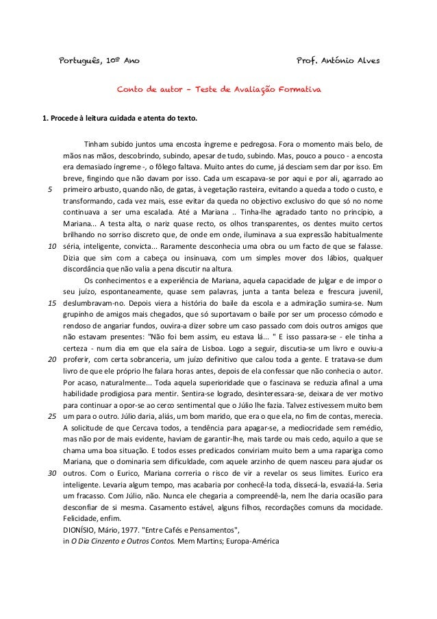 Português, 10º Ano Prof. António Alves    Conto de autor – Teste de Avaliação Formativa 1.  Procede  à  leitura  ...
