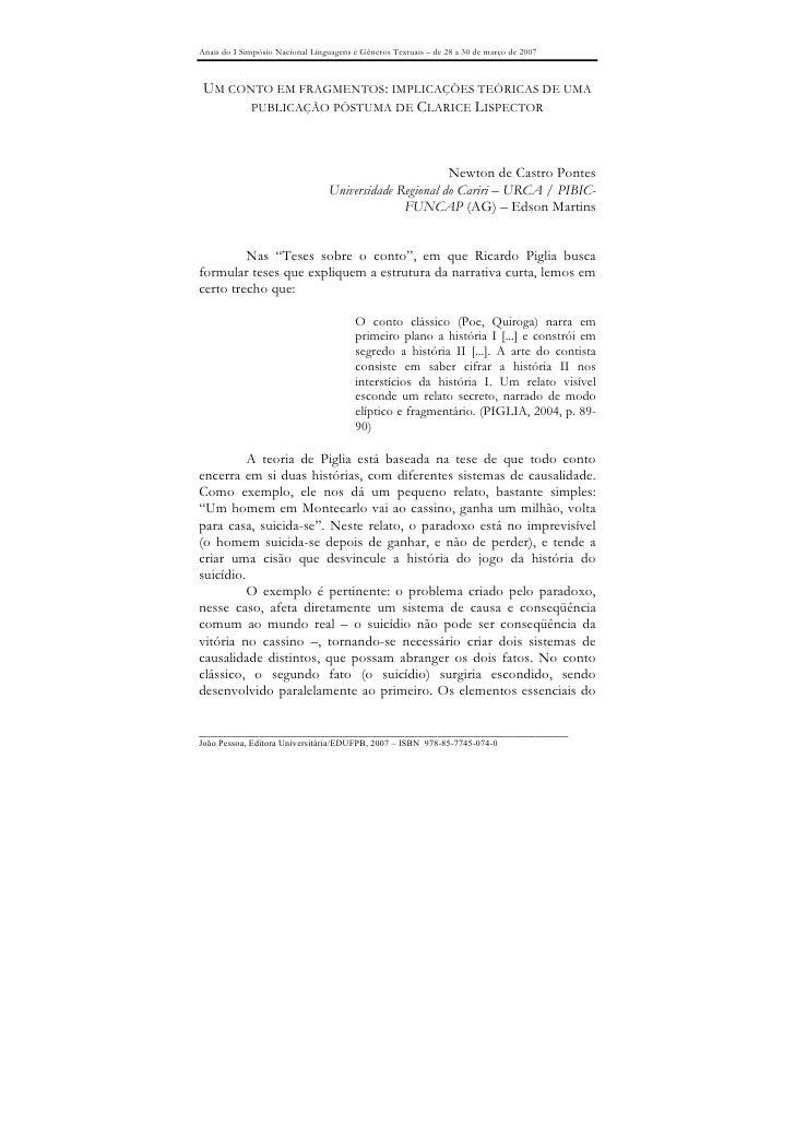 Anais do I Simpósio Nacional Linguagens e Gêneros Textuais – de 28 a 30 de março de 2007     UM CONTO EM FRAGMENTOS: IMPLI...