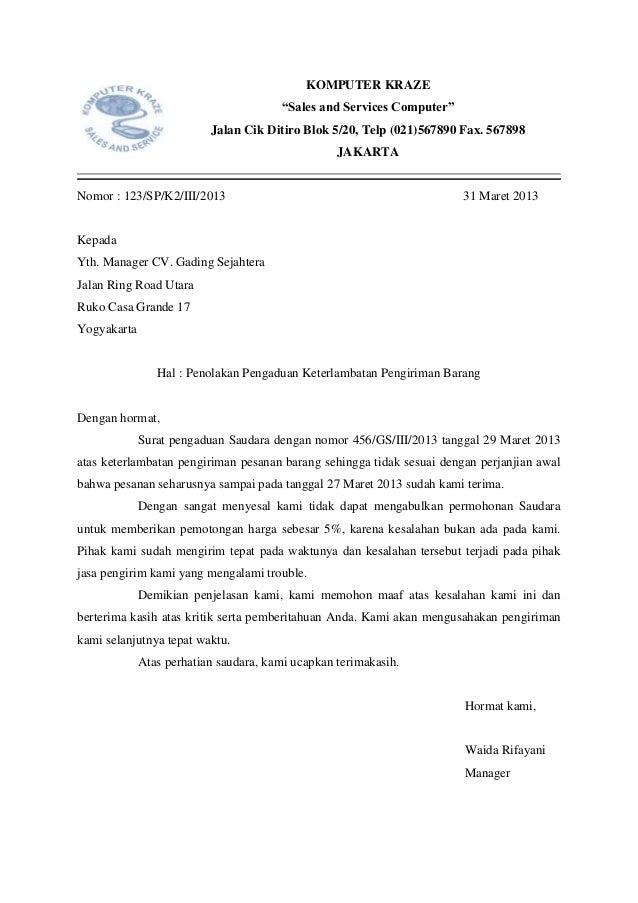 Contoh Surat Penolakan