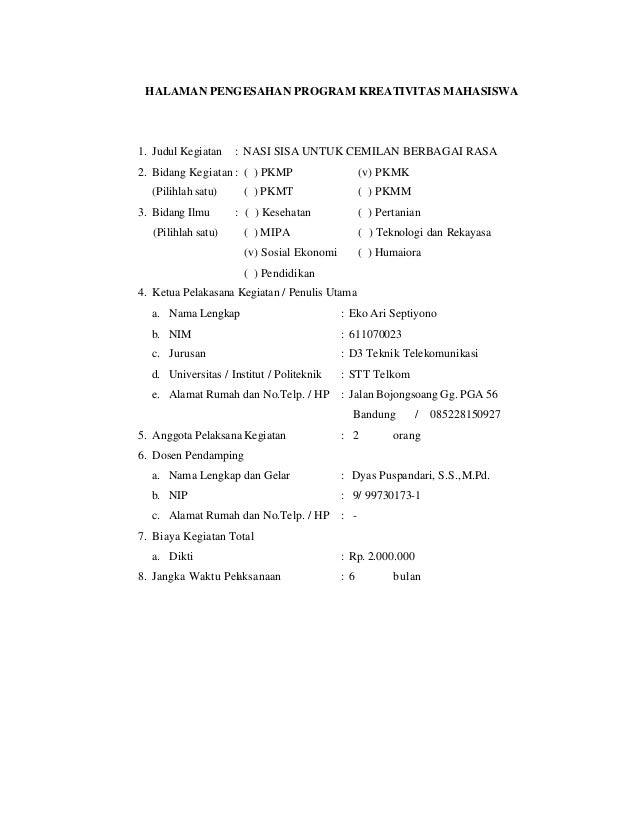 Contoh proposal pkm kewirausahaan