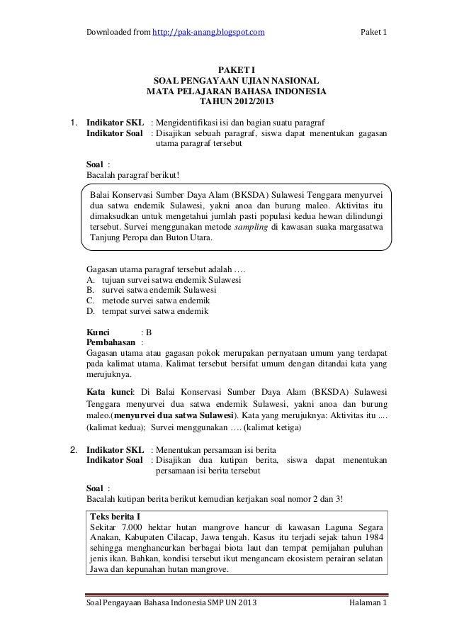Pembahasan Soal Un Bahasa Inggris Smp 2015