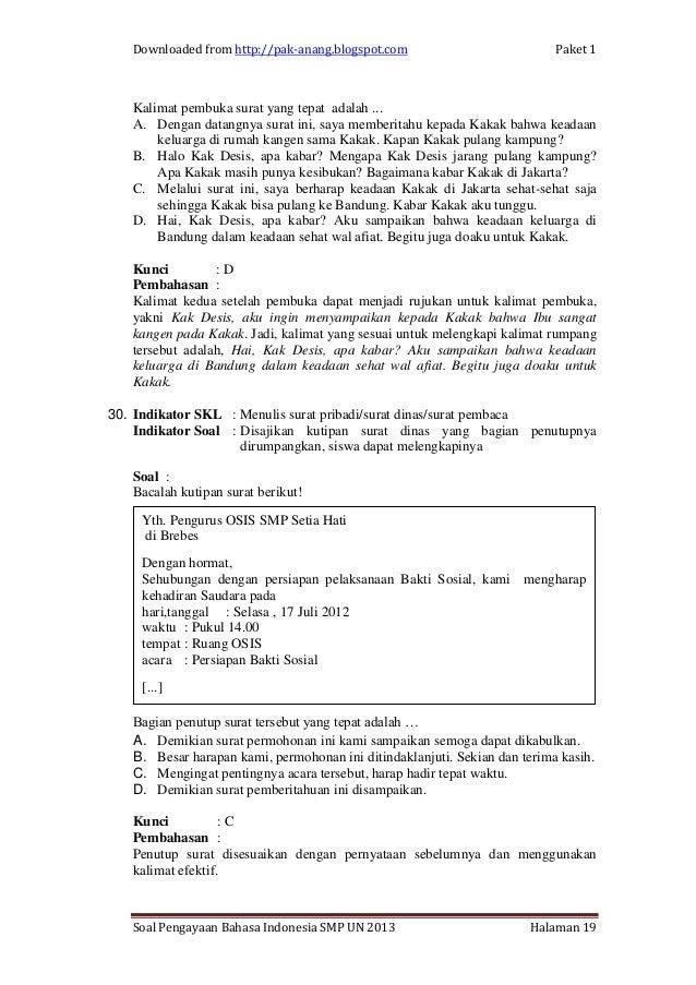 Contoh Soal Bahasa Indonesia1 Un Smp Per Skl