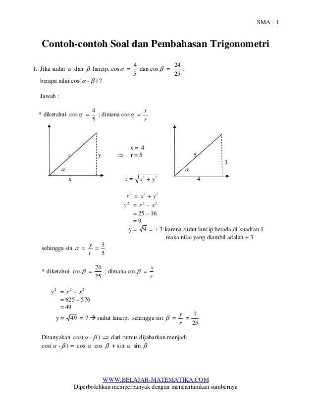 Contoh Contoh Soal Dan Pembahasan Trigonometri Untuk Sma