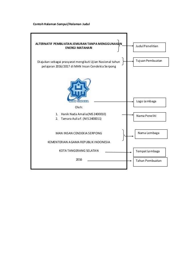 Contoh Format Cover Untuk Kir