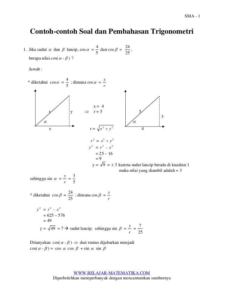 SMA - 1   Contoh-contoh Soal dan Pembahasan Trigonometri                                                4             241....