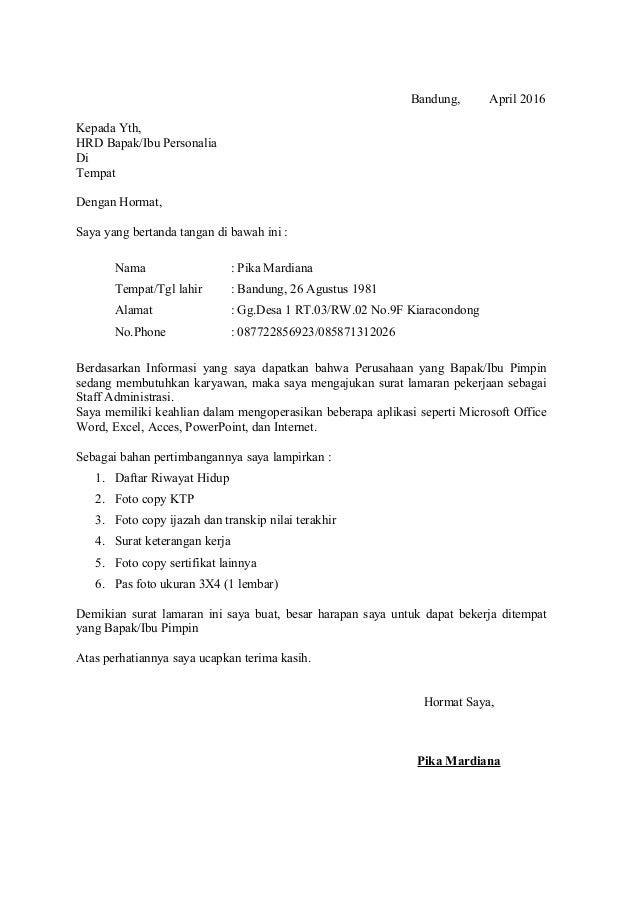 Contoh Surat Lamaran Dinas Pekerjaan Umum