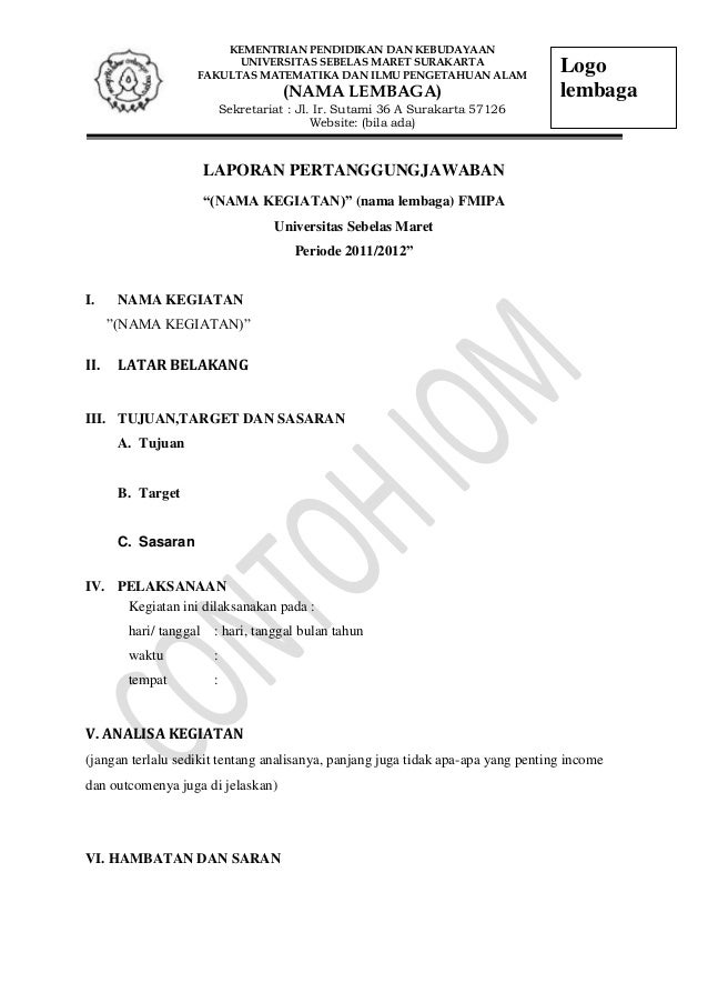 Contoh Surat Laporan Pertanggungjawaban Organisasi