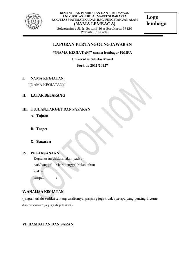 Format Laporan Pertanggungjawaban Keuangan