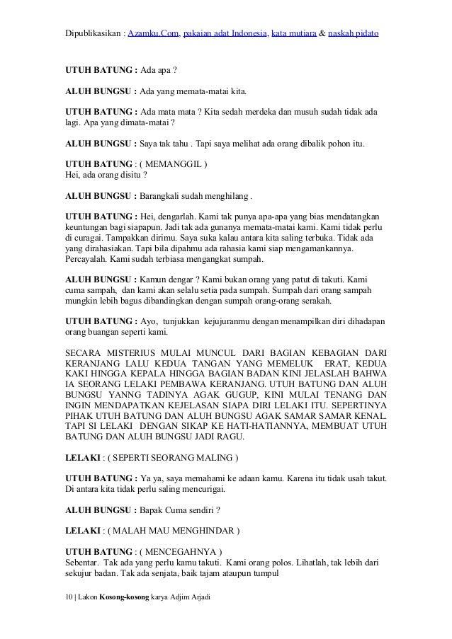Contoh Naskah Drama 20 Orang Pemain