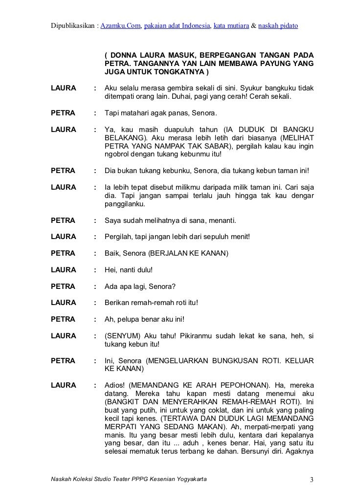 Contoh Naskah Drama Orang Naskah Drama :: CONTOH TEKS