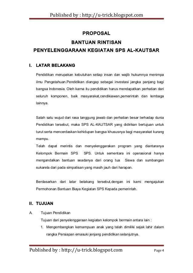 Contoh Proposal Bantuan Pendidikan