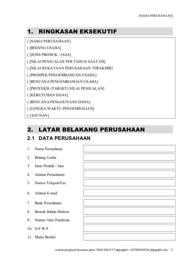 Contoh Proposal Business Plan 130413042137 Phpapp01