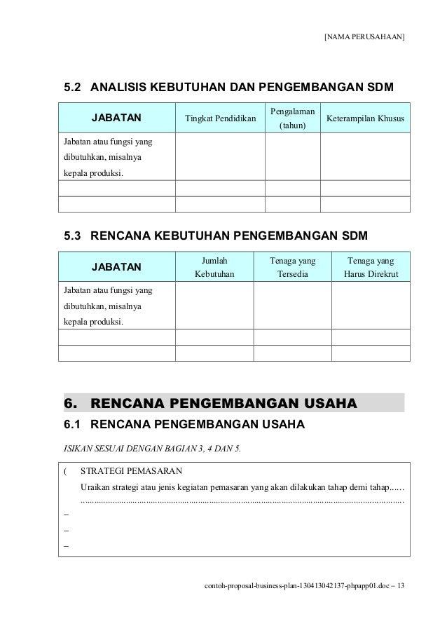 Contoh Proposal Usaha / Kewirausahaan / Bisnis Plan (Cara Membuat Proposal Usaha)