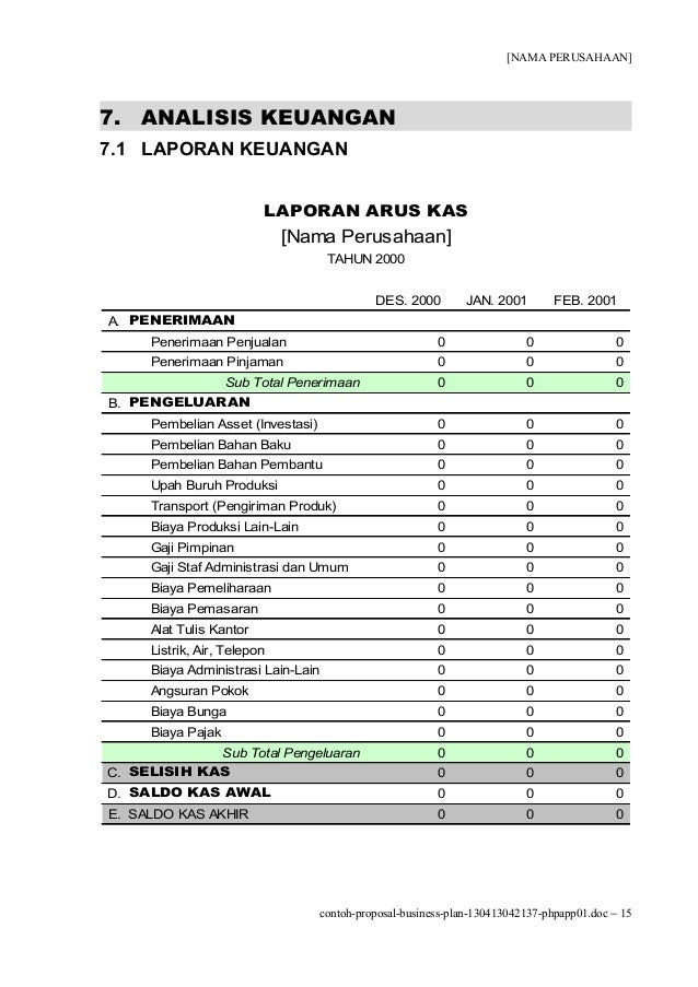 Contoh Proposal Business Plan