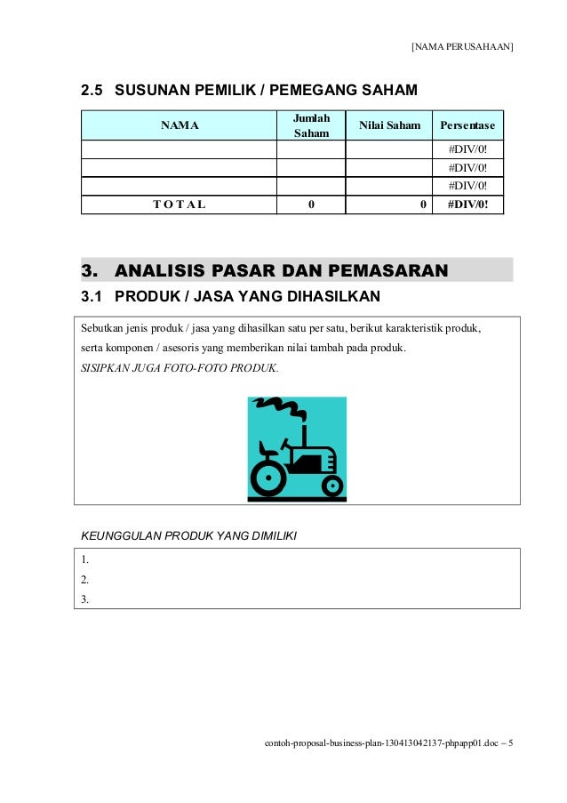 Contoh Format Business Plan