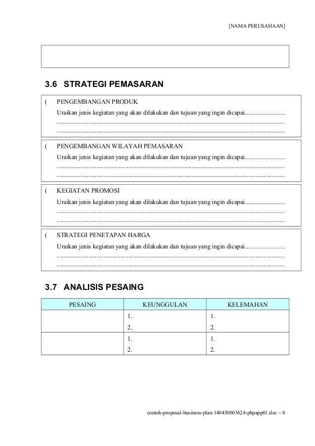 Contoh Business Plan Yang Sudah Jadi  Contoh U
