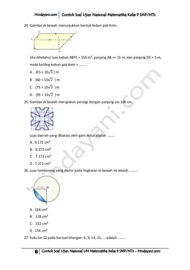Contoh soalujiannasionalunmatematikakelas9smpm ts