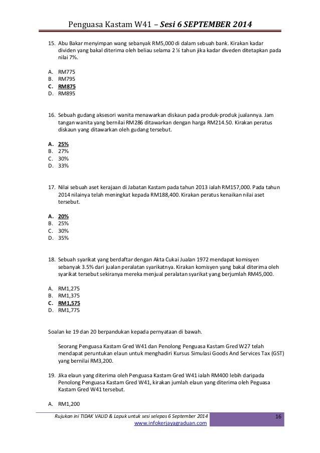 Contoh Contoh Soalan Peperiksaan Online Penguasa Kastam Gred W41