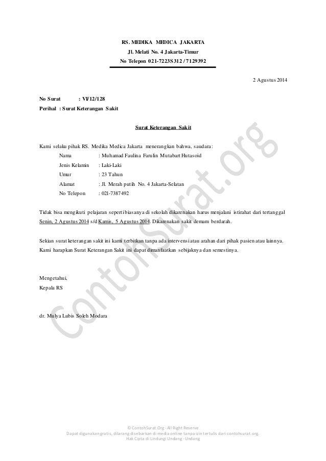 Contoh Surat Keterangan Sakit Dokter Untuk Siswa Sekolah