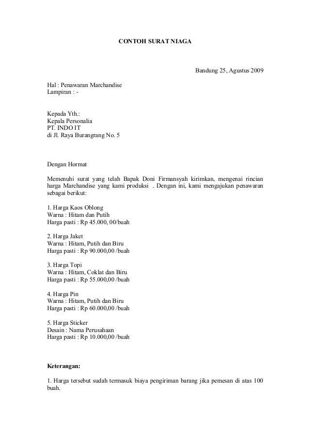Contoh Surat Niaga