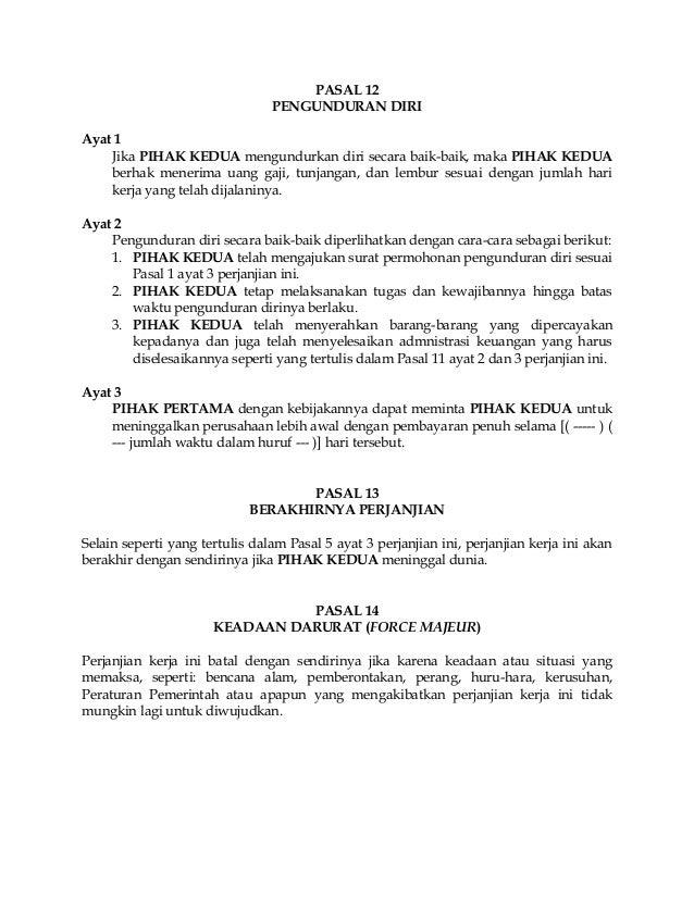 Contoh Surat Pengunduran Diri Karyawan Kontrak - Mosaicone