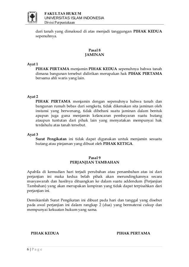 Contoh Surat Perjanjian Pengikat Jual Beli Tanah Dan