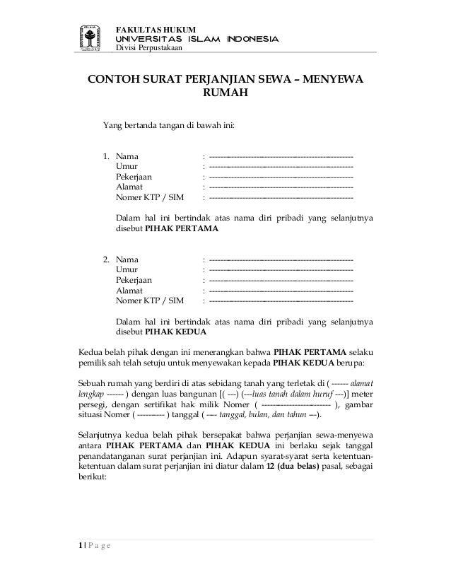 Contoh Surat Perjanjian Sewa Menyewa Rumah1