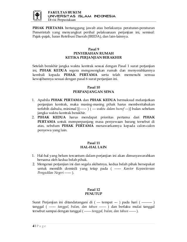 Contoh Surat Perjanjian Sewa Menyewa Lapak