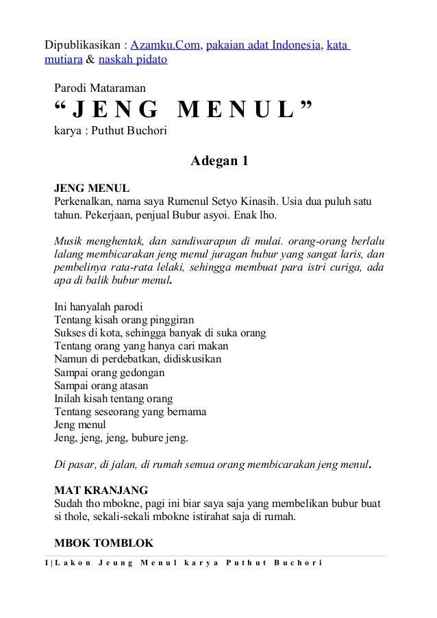"Dipublikasikan : Azamku.Com, pakaian adat Indonesia, katamutiara & naskah pidato  Parodi Mataraman  ""JENG MENUL""  karya : ..."
