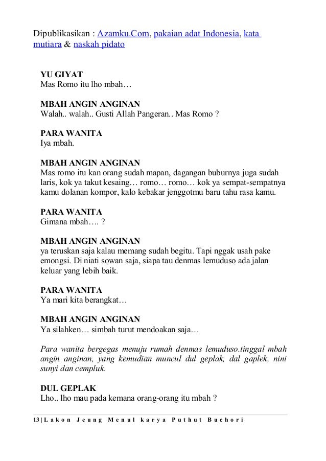 Contoh Teks Drama Orang Komedi :: CONTOH TEKS