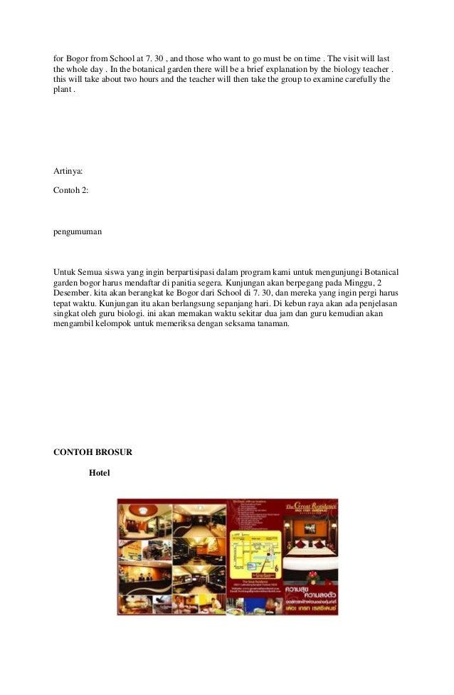 Contoh Announcement Singkat