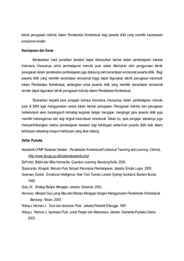 Contoh Artikel Pembelajaran Bahasa Indonesia