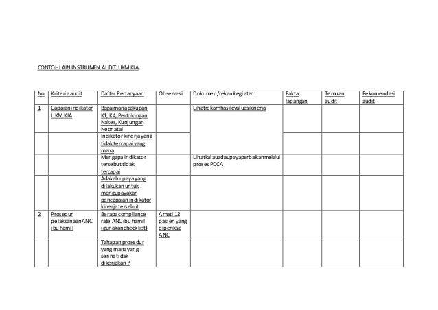 Contoh Audit Plan Dan Instrumen Audit Pkm