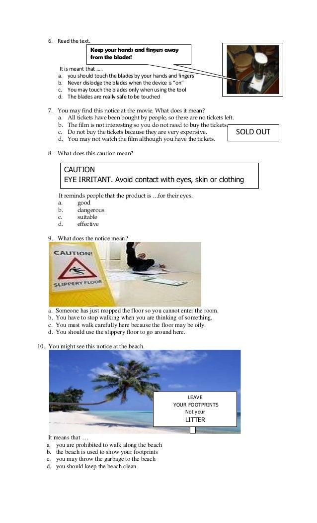 Contoh Soal Caution Notice Warning Un Bahasa Inggris Smp 2014