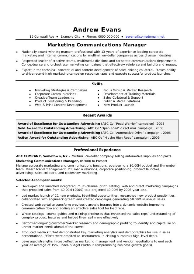 Contoh Cv Template Marketing Manager