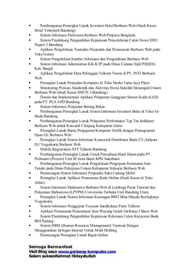 Contoh Daftar Judul Skripsi Teknik Informatika